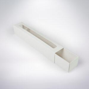 Krabička na makarónky biela s okienkom 272x46x46