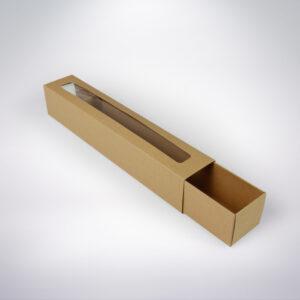 Krabička na makarónky eko s okienkom 272x46x46